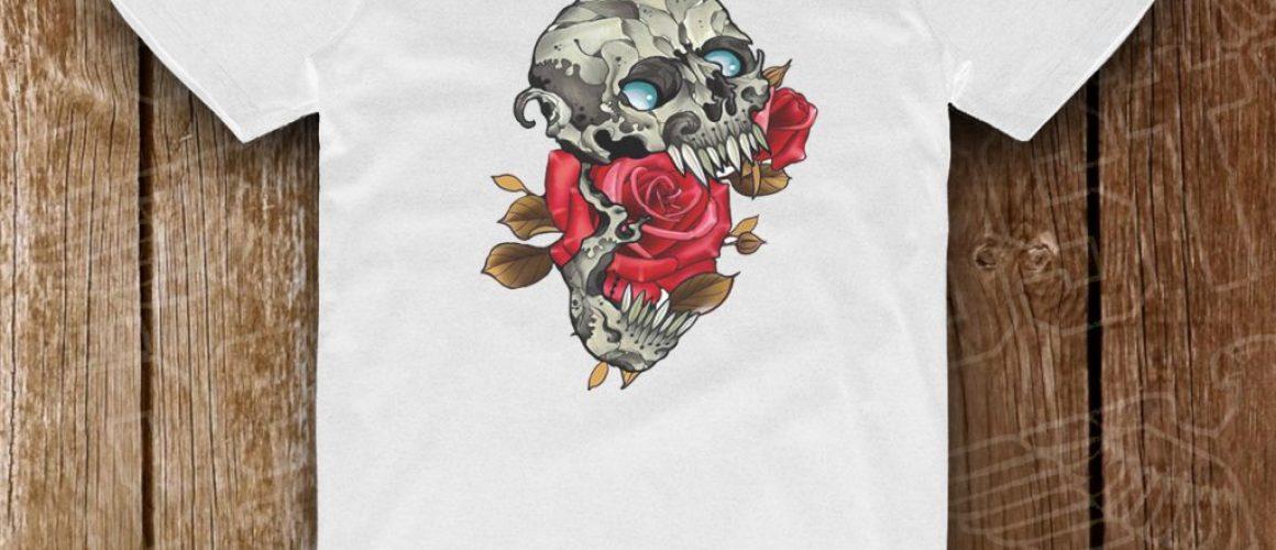alb schelet cu trandafir