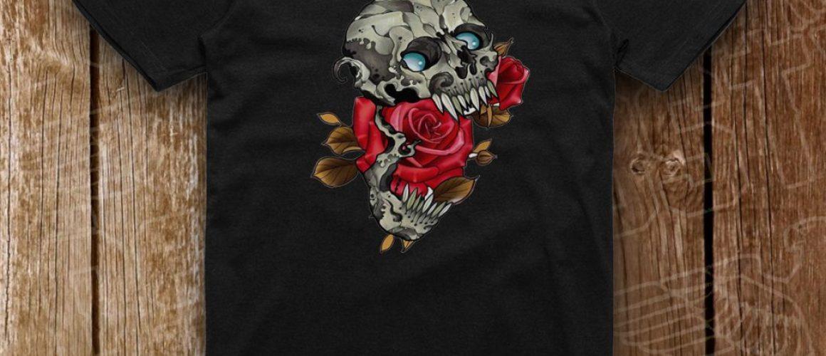 negru schelet cu trandafiri