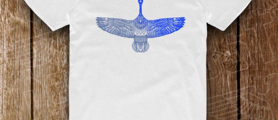 goose albastru metalic pe alb